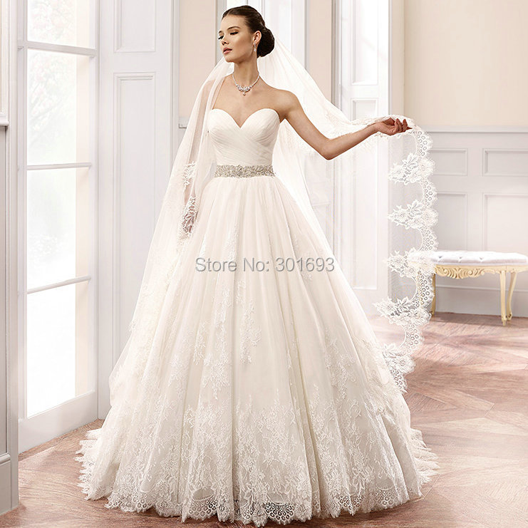 Wedding Gown Veil: Oumeiya OW109 French Cord Lace Appliques Sweetheart Ball