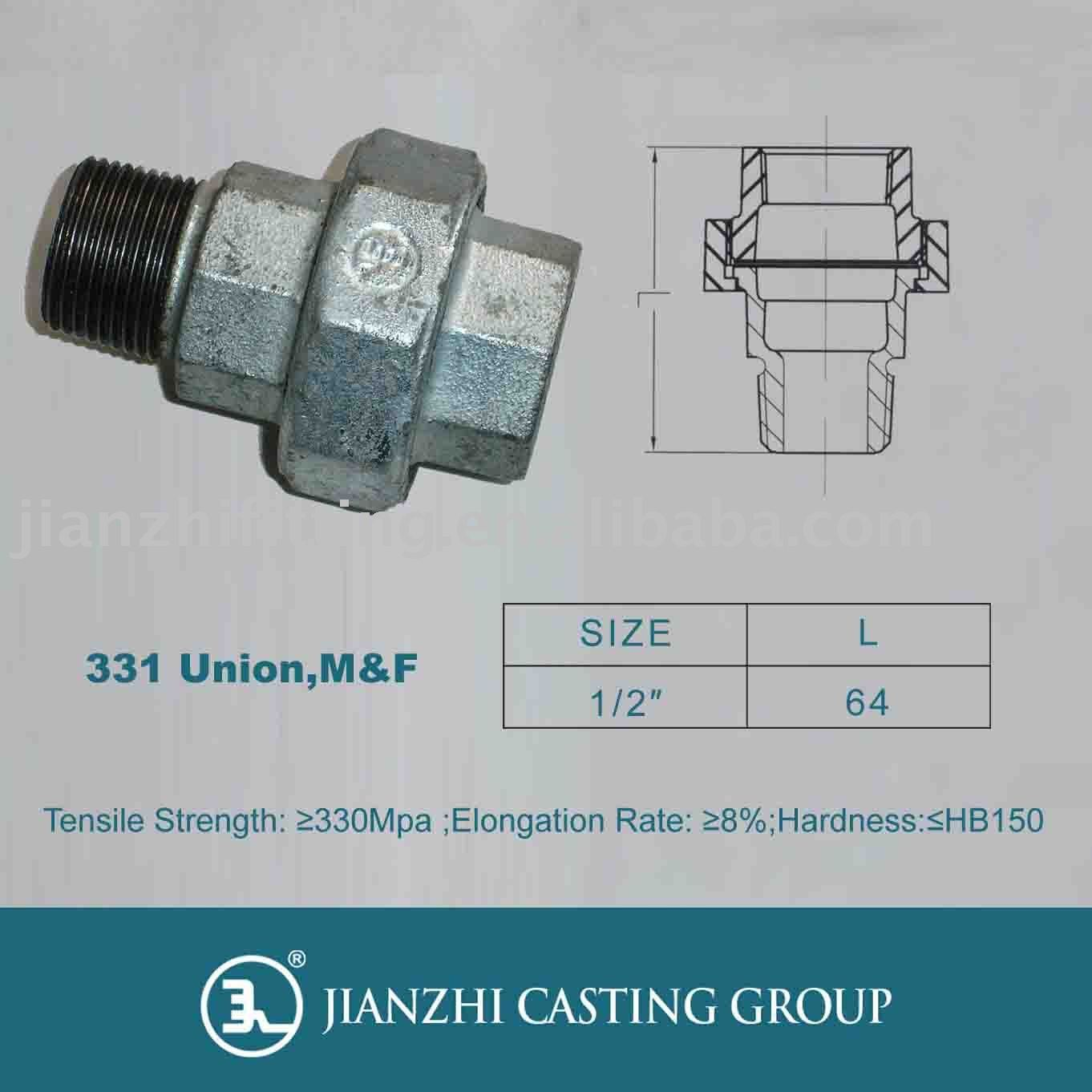 Malleable Cast Iron Pipe Fitting-331 M&f Union /galvanized &black ...