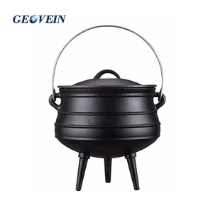 Outdoor big belly camping cookware 3 legs Cast Iron open fire cooking pots