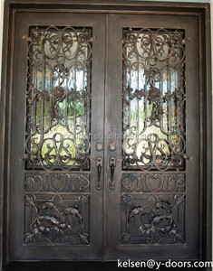 Antique and luxury wrought iron entrance double door, matching transom and sidelights are available