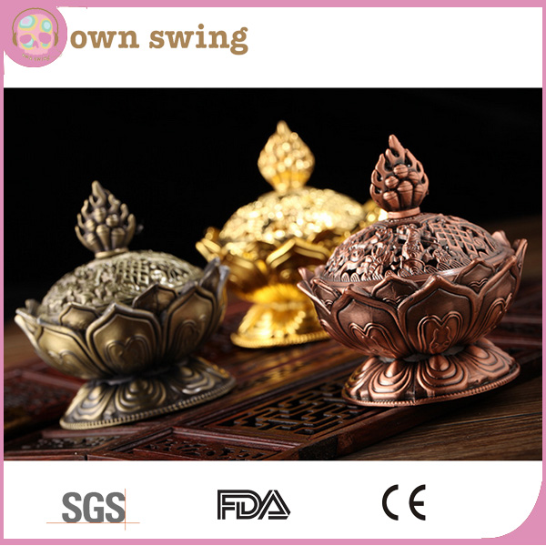 Tibetan Lotus Incense Burner Alloy Bronze Mini Incense Burner Incensory Metal Craft Home Decor
