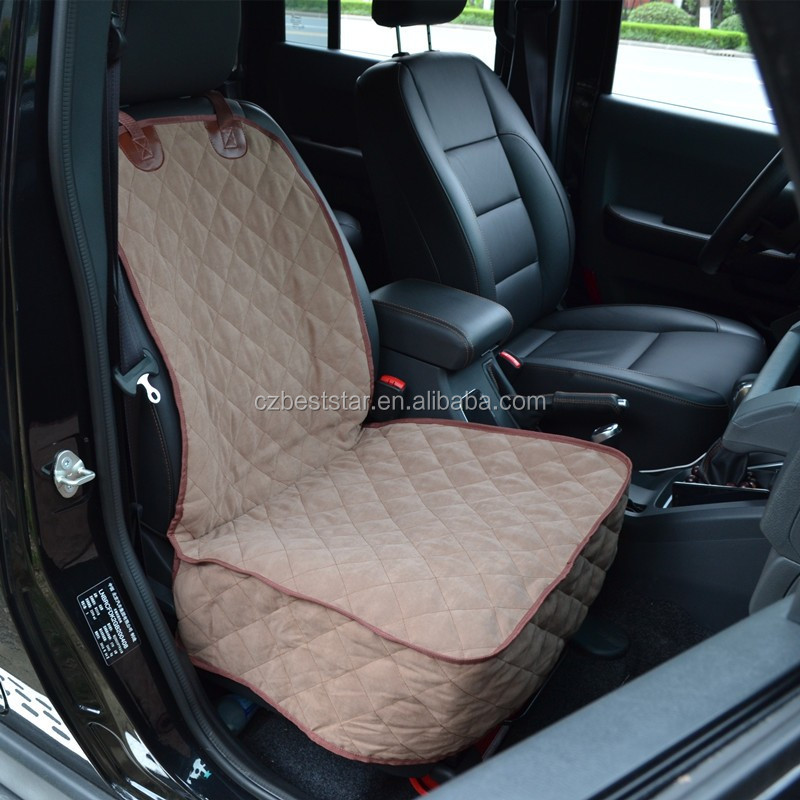 Khaki And Grey Suede Fabric Quilted Front Bucket Seat