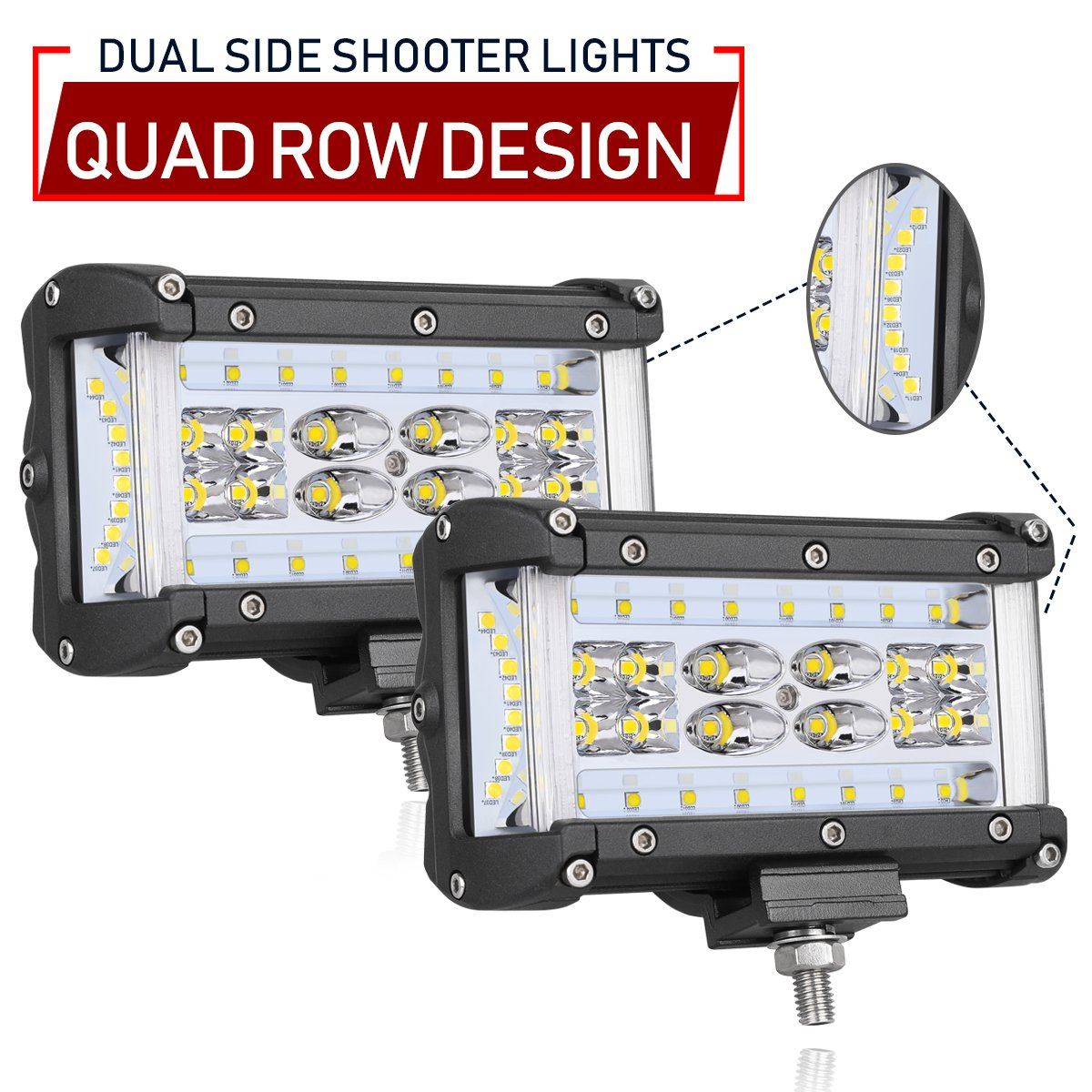 Dual Side Shooter LED Lights, Swatow Industries 2PCS 220W Osram LED Pod Lights Quad Row LED Fog Lights Off Road LED Cube Lights for Truck Pickup Tractor Motorcycle SUV ATV UTV Boat - 3 Years Warranty