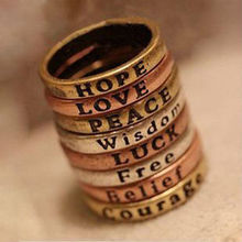 Hope Love Peace Wisdom Luck Free Belief Courage ring