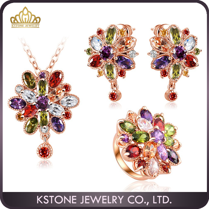 KSTONE artificial american diamond jewellery crystal necklace earring jewelry set
