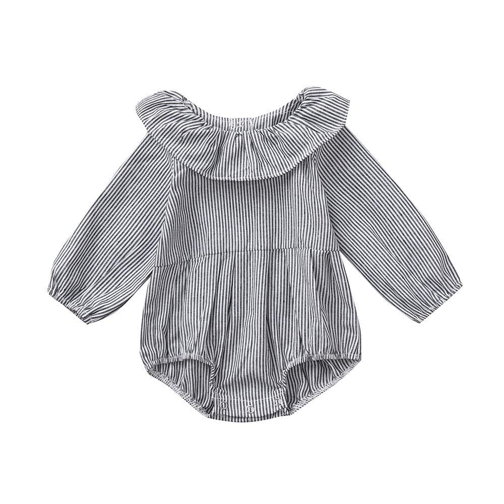 Unisex Baby Clothes Set Newborn Infant Long Sleeve Striped Romper Jumpsuit Outfits (9-12 Months, Gray)
