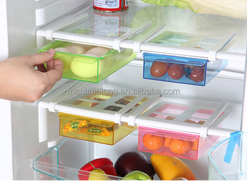 Universal Creative Fridge Storage Rack Layer Parion Refrigerator Holder Pull Out Drawer Organizer Kitchen