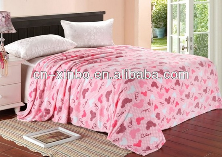 Mustache Printing Flannel Blanket Throw Bedspread
