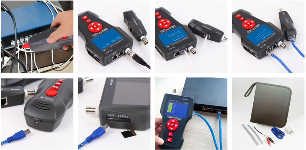 NF-8601 POE PING Ethernet tester Tracking RJ45, RJ11, Coax Network Cable Length Tester