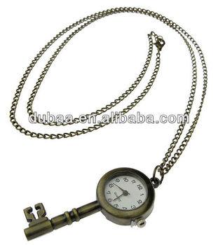 8813ecc6b47 Antique Imitação de Cobre Coruja Colar Relógio de Bolso de Quartzo Em Forma  de Chave com