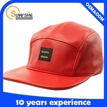 Custom fashion leather fitted design blank 5 panel cap