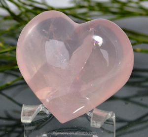 hot sale 100% natural clear love heart rose quartz crystal polished carved stone healing gifts