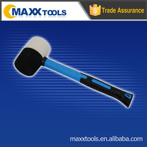 White and black head rubber mallet,fiberglass handle with 2-tone soft grip