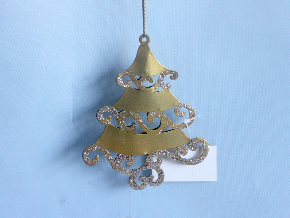 Golden Christmas Tree Hanger Metal Garden Stake Iron Art