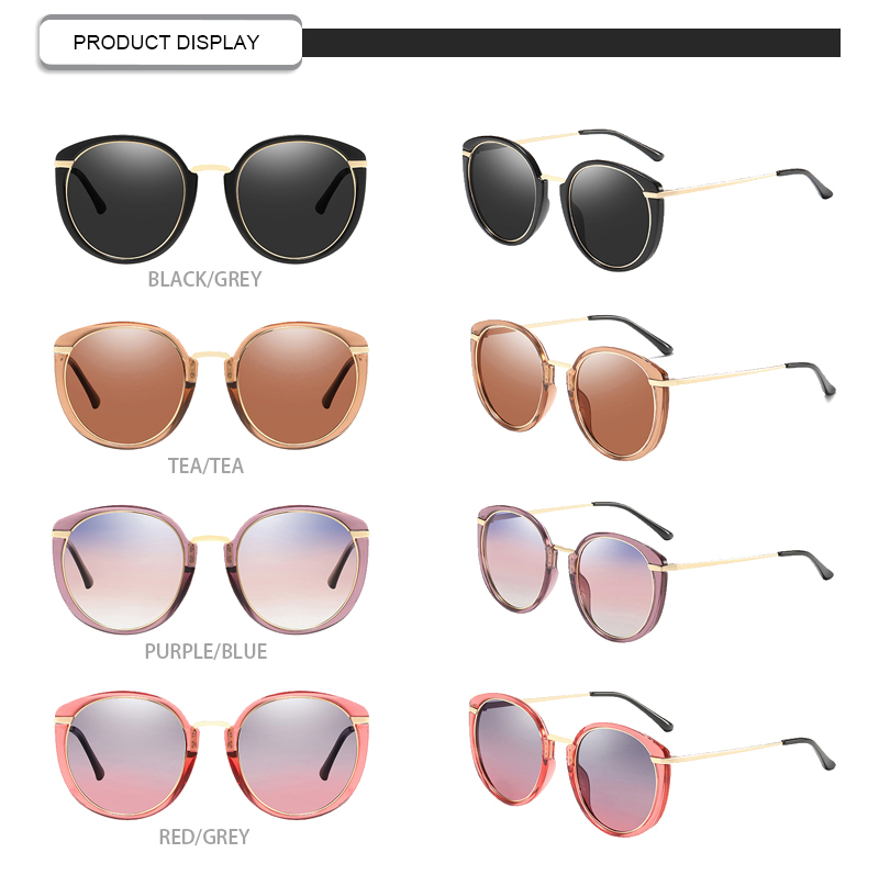 High quality rounded metal frame male sunglasses luxe gold polarized eye-guarder glasses