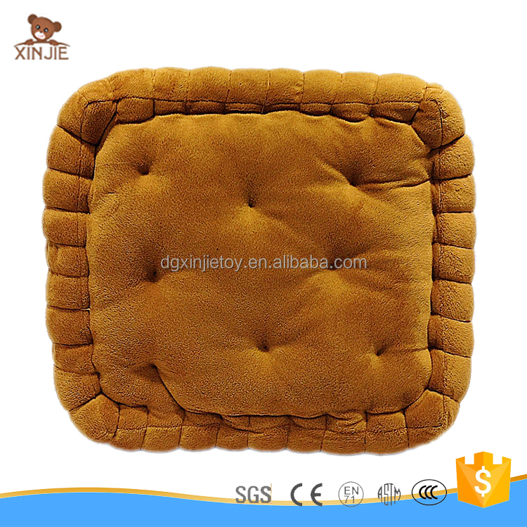 customize plush biscuit shape cushion customize good quality stuffed biscuit pillow
