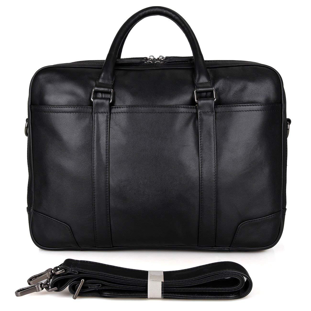 Genda 2Archer Men Leather Briefcase Top-Zip Laptop Computer Messenger Bag