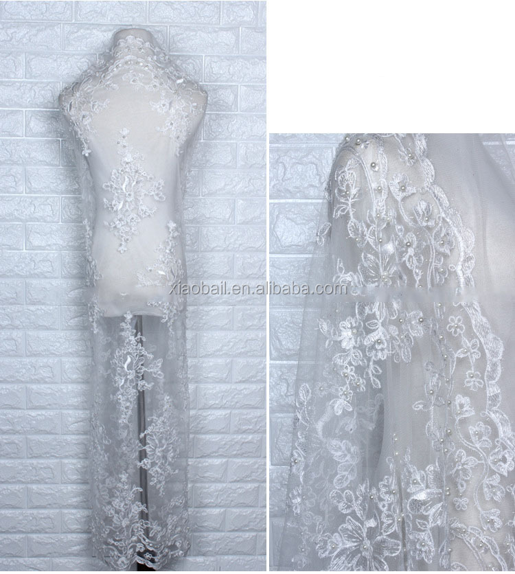 White mesh embroidery polyester silk water soluble lace embroidery cloth plus wool rope beads beads fabric