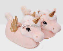 Popular Winter Warm Indoor Soft 3D UNICORN SLIPPERS/plush unicorn slippers/cheap plush unicorn animal slippers for adults