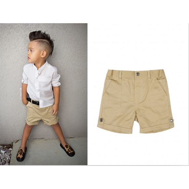 Retail 2-6y Baby Boy Clothes Set,White Top Shirt+Khaki Short Boys Clothes Set,Summer Cool Boy Casual Clothing Set,Kids Clothes