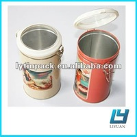 Tall round airtight tin can with plastic lid