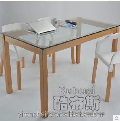 Tapa de cristal con madera pata de la silla/mesa comedor y silla ...