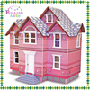 High quality three floor pink wooden toy doll house for girls