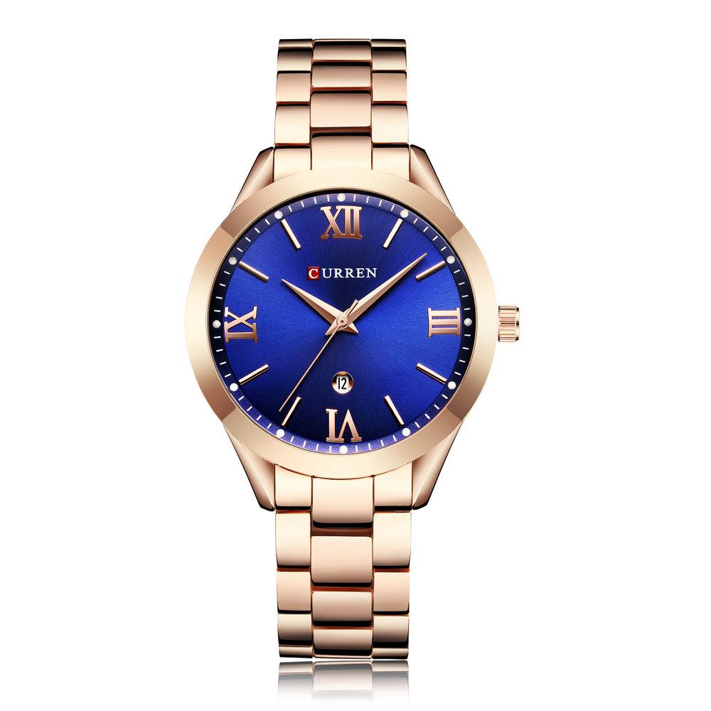 CURREN 9007 נשים נירוסטה קוורץ שעון גבירותיי אופנה יוקרה מותג שעון יד