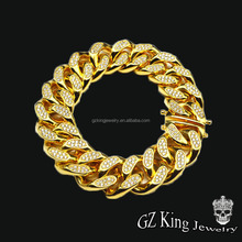 18mm big size 18k hip pop gold cuban link chain designs for man jewellery necklace