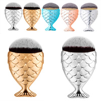 New Cosmetic Mermaid spade Makeup Brush Fish Scale Fishtail Bottom Brushes Professional Foundation Powder Blush Make Up Tool Kit