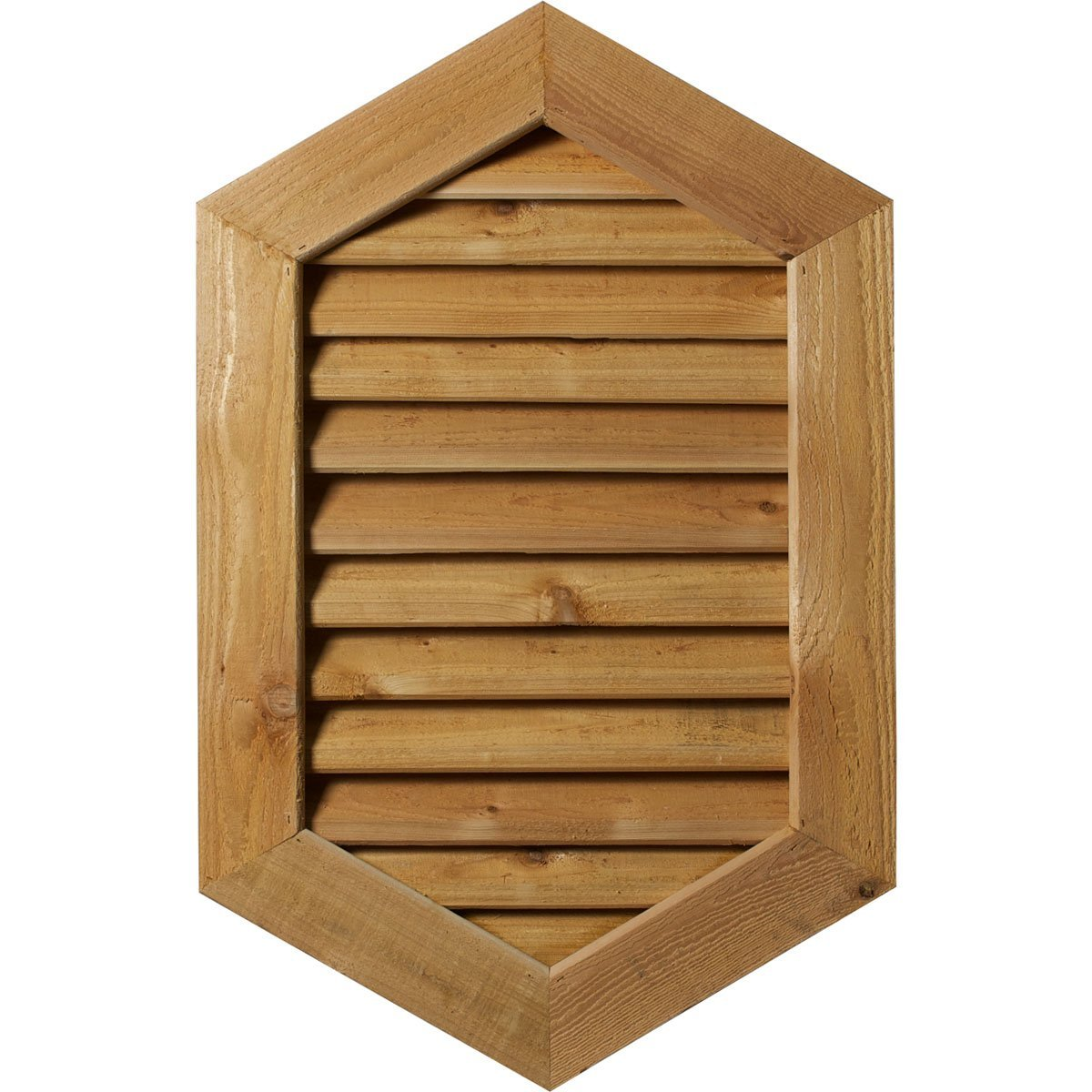 """Ekena Millwork GVWVP24X3201SFPWR-14 Primed, Functional and Smooth Western Red Cedar 24"""" Width x 32"""" Height Vertical Peaked Gable Vent with 1"""" x 4"""" Flat Trim Frame"""