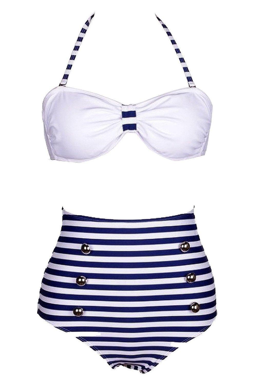 e92690e655 Get Quotations · Losorn Women Pinup Rockabilly Vintage High Waist Bikini  Swimsuit Swimwear