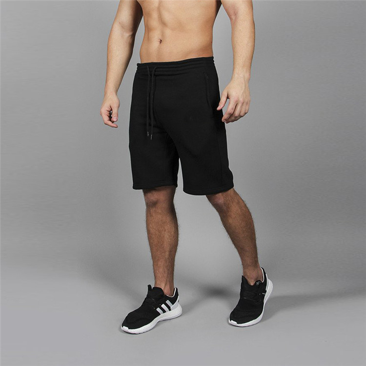Knee length spandex black classic cotton gym shorts