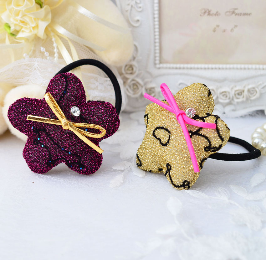Korean <strong>accessories</strong> handmade flower <strong>hair</strong> band rubber band headrope children cotton filling Korean flash diamond headdress AEB1030