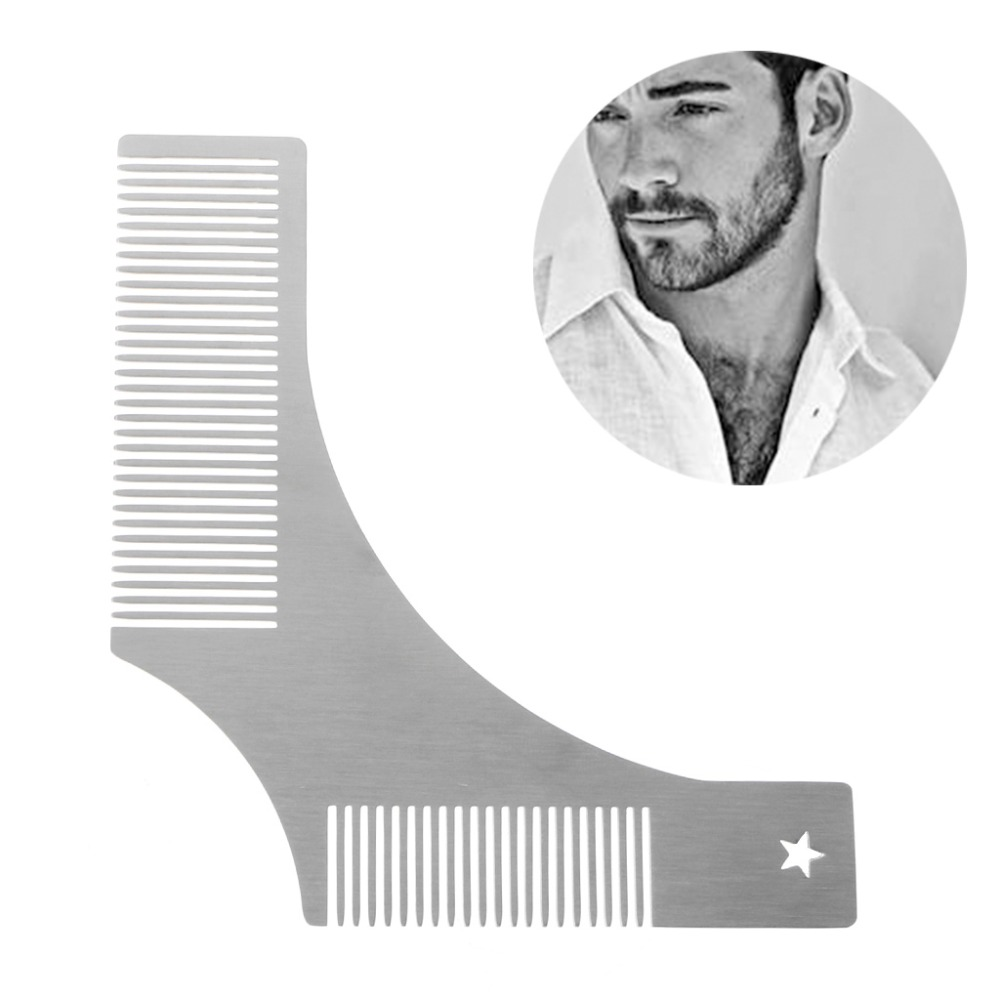 picture regarding Beard Shaping Template Printable identify US $2.38 31% OFFKemei Stainless Metallic Beard Styling Shaping Template Comb Resource Males Shaving Brush 2 Sized Tooth Comb Style -inside of Shaving Brush versus