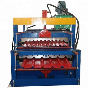 Plastic double layer metal roof slate/shake roll forming machine for galvanized tile made in China