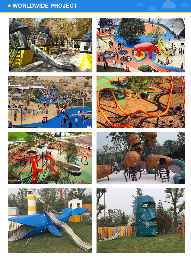 Top quality large theme park children stainless steel slides/kids swing outdoor playground with climbing equipment