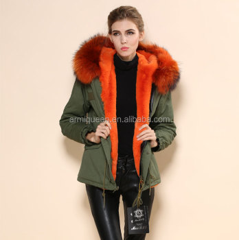 Olive Green Parka For Ladies Winter Wear,Bright Orange Fake Fur ...