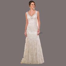 V neck Appliques Beaded Sequins Ivory Lace Wedding Dresses 2015 New A line Wedding Dress Backless Custom vestidos de novia