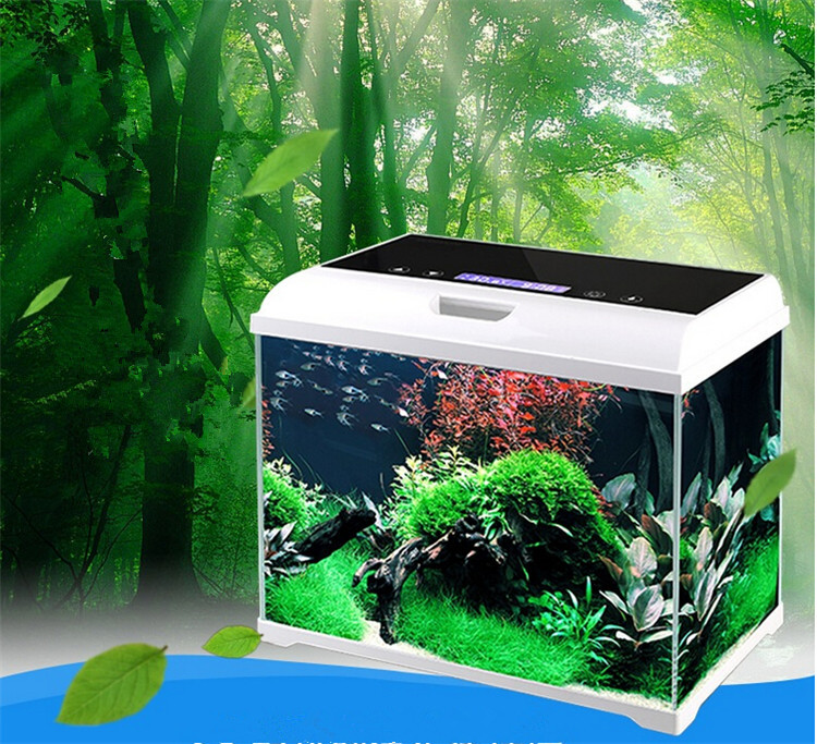 Intelligente touch- screen control salontafel glas aquarium aquarium met verlichting en filtersysteem