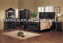 Classical wooden hand carving bedroom furniture, black color, king size bed, night stand, dresser, mirror, wardrobe