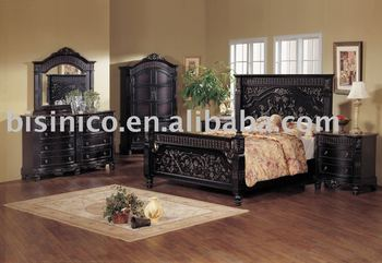 Classical Wooden Hand Carving Bedroom Furniture,Black Color,King Size  Bed,Night Stand,Dresser,Mirror,Wardrobe - Buy Bedroom Set,King Size  Bed,Bedroom ...