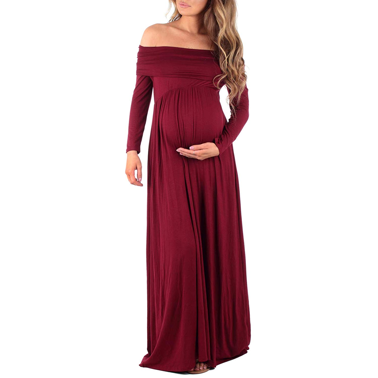 8846ba7b4e25c Get Quotations · Women's Cowl Neck and Over The Shoulder Ruched Maternity  and Nursing Dress ...