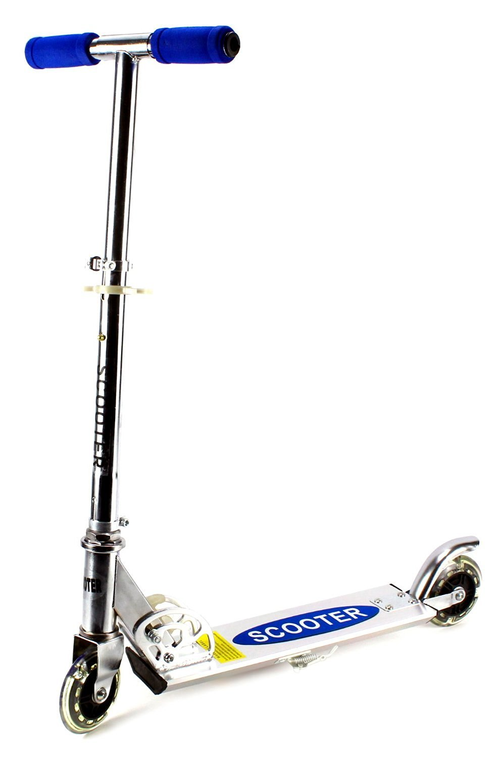 VT Roller AL Children's Two Wheeled Metal Toy Kick Scooter w/ Integrated Scooter Stand, Light Up Wheels (Blue)