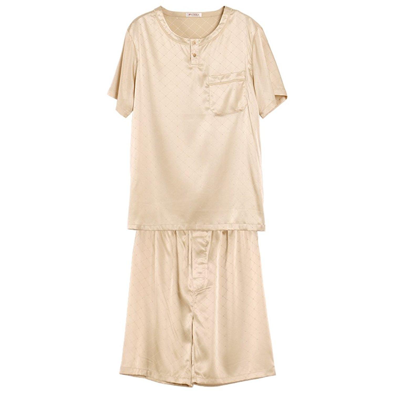4db316f0f7 Get Quotations · Mens Pajamas Stylish satin elegant Plaid pajamas  short  sleeves five-home service kit