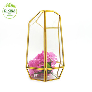 a~|| Black Vintage Jewelry Box Transparent Glass Box terrarium Plant Flower Jar Storage || mercury square irregular glass vase