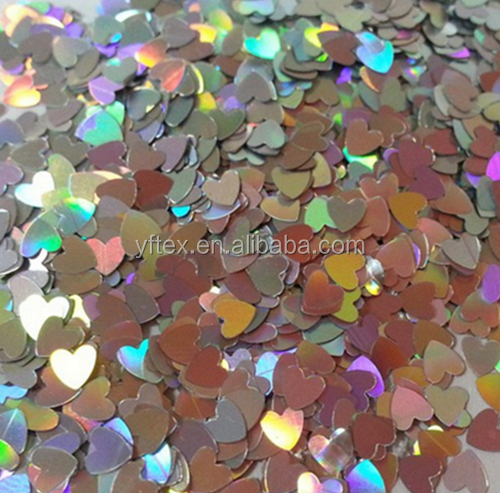 Rainbow silver Sequins High Quality Heart Shape paillette for craft and decoration