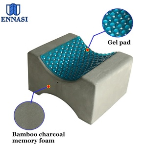 Comfortable Bamboo Charcoal Cool Gel Orthopedic Memory Foam Cooling Knee Leg Support Rest Wedge Pillow for Sleeping