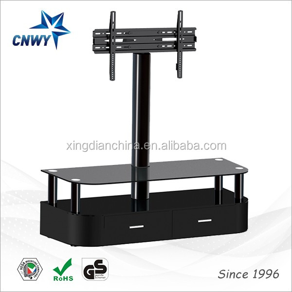 Corner TV Stands For Flat Screens Glass and Wood in Black 32 to 65 Inch Entertainment Table with 3 Tier Shelves for Media