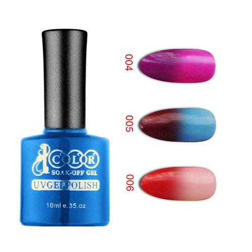 Free shipping 12pcs Color 1000 temperature change gel polish Color Change Nail Polish Gel 10ml 12